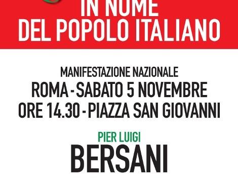 Manifestazione nazionale del PD. Il 5 novembre tutti a Roma.