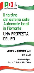 Il riordino delle Autonomie locali in Piemonte. La proposta del PD. Convegno a Torino con Reschigna e Borghi