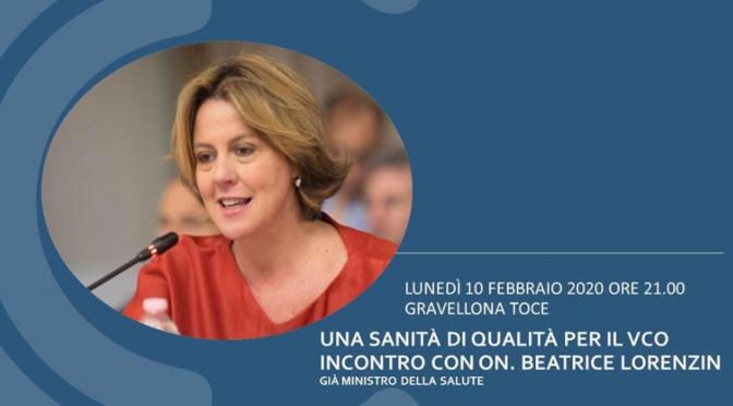 Una sanità di qualità per il VCO. Incontro con Beatrice Lorenzin Lunedì 10 febbraio  Gravellona Toce