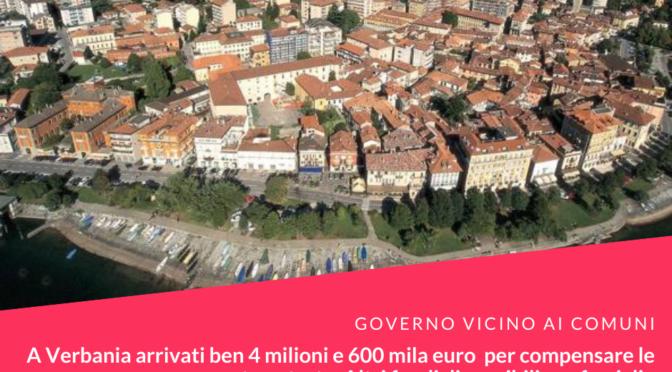Governo vicino ai Comuni. A Verbania arrivati ben 4 milioni e 600 mila euro per compensare le mancate entrate. Altri fondi per famiglie in difficoltà e imprese nel fondo Verbania Solidale